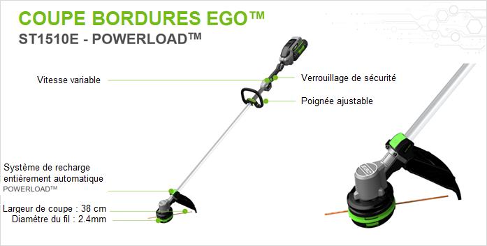 Présentation du coupe-bordures électrique à batterie ST1510E EGO avec vitesse variable, verrouillage de sécurité, poignée ajustable, stystème de recharge entièrement automatique Powerload, largeur de coupe 38cm, diamètre du fil 2.4mm