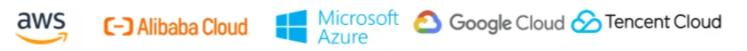 Logos de AWS, AlibabaCloud, MicrosoftAzure, Google cloud, Tencent Cloud
