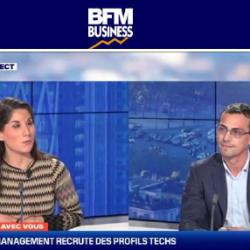 Capture d'écran BFM - Lorraine Goumot interviewe Louis-Baptiste France, sur les recrutements chez Socio Data Management